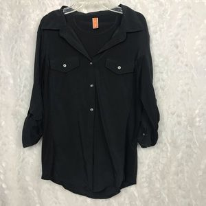 Lucy black button down rollup sleeves medium